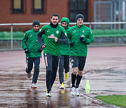 06.01.2014, Weserstadion, Bremen, GER, 1. FBL, SV Werder Bremen, Training, im Bild von links, Özkan / Oezkan Yildirim (Bremen #32), Sebastian Mielitz (SV Werder Bremen #1), Mehmet Ekici (SV Werder Bremen #10), Felix Kroos (Bremen #18) beim Laktattest // von links, Özkan / Oezkan Yildirim (Bremen #32), Sebastian Mielitz (SV Werder Bremen #1), Mehmet Ekici (SV Werder Bremen #10), Felix Kroos (Bremen #18) beim Laktattest during the training session of the German Bundesliga Club SV Werder Bremen at the Weserstadion in Bremen, Germany on 2014/01/06. EXPA Pictures © 2014, PhotoCredit: EXPA/ Andreas Gumz<br /> <br /> *****ATTENTION - OUT of GER*****