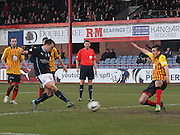 Paul McGowan scores Dundee's winner - Dundee v Partick Thistle, SPFL Premiership at Dens Park<br /> <br />  - &copy; David Young - www.davidyoungphoto.co.uk - email: davidyoungphoto@gmail.com