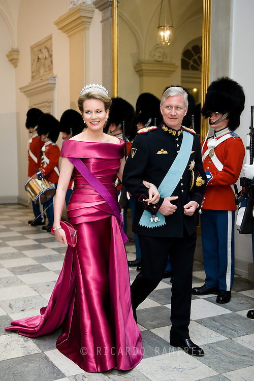 15.04.2015. Copenhagen, Denmark.King Philippe and Queen Mathilde of Belgium attended a Gala Dinner at Christiansborg Palace on the eve of The 75th Birthday of Queen Margrethe of Denmark.Photo:© Ricardo Ramirez