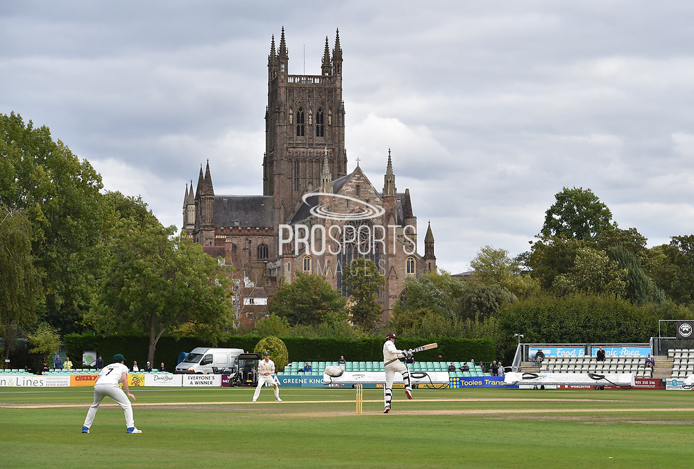 Surrey are Champions - Morne Morkel of Surrey hits the winning runs to beat Worcestershire and win the County Championship for Surrey during the final day of the Specsavers County Champ Div 1 match between Worcestershire County Cricket Club and Surrey County Cricket Club at New Road, Worcester, United Kingdom on 13 September 2018.