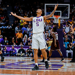 Jan 23, 2018; Baton Rouge, LA, USA; LSU Tigers guard Daryl Edwards (5) reacts after a three point basket during the first half against the Texas A&M Aggies at the Pete Maravich Assembly Center. Mandatory Credit: Derick E. Hingle-USA TODAY Sports