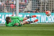 Sam Johnson (Halifax) makes the first save of the game during the FA Trophy match between Grimsby Town FC and Halifax Town at Wembley Stadium, London, England on 22 May 2016. Photo by Mark P Doherty.