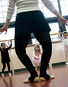 Val1/2/03  Photo by Mara Lavitt-Kid ballet 1<br /> ML0044F #5307<br /> Julie Altieri of Trumbull (the legs) leads her 3-year-old tap &amp; ballet class at the Shelton Senior Center.  Pupils are Emily Giovannone age 3 left, Sarah White age 3 center, and Gabby Rago age 4 right.