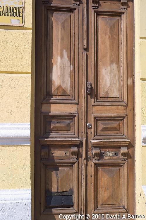 Old door in Barrio, Bellavista, Santiago, Chile