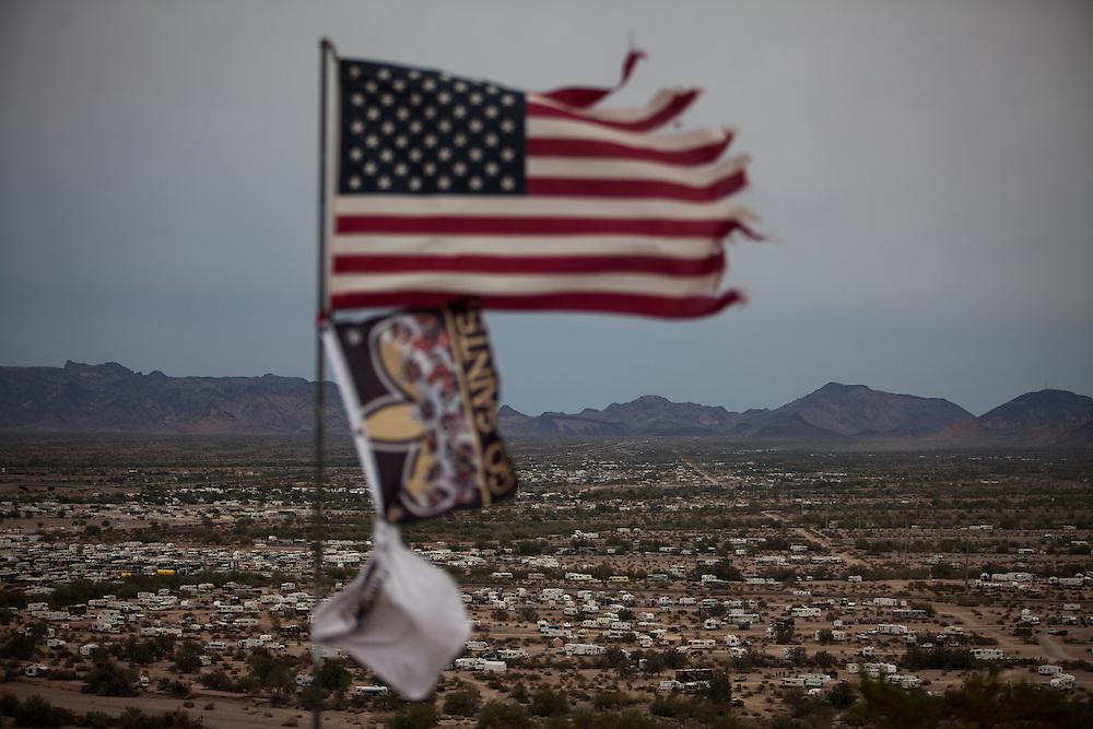 RVers gather in the desert outside Quartzite, Arizona.