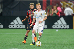 September 22, 2018 - Atlanta, GA, U.S. - ATLANTA, GA Ð SEPTEMBER 22:  Real Salt Lake's Justen Glad (15) passes the ball during the match between Atlanta United and Real Salt Lake on September 22nd, 2018 at Mercedes-Benz Stadium in Atlanta, GA.  Atlanta United FC defeated Real Salt Lake by a score of 2 to 0.  (Photo by Rich von Biberstein/Icon Sportswire) (Credit Image: © Rich Von Biberstein/Icon SMI via ZUMA Press)