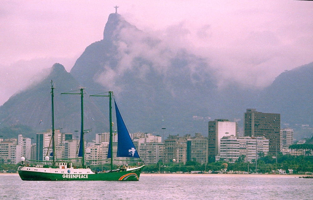 RAINBOW WARRIOR arriving in Rio de Janeiro, Brazil, as part of  Greenpeace's presence at the Earth Summit.   Accession #: 2.92.229.003.22