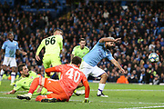 Manchester City forward Sergio Aguero (10) with a chance on goal in the dying minutes during the Champions League match between Manchester City and Dinamo Zagreb at the Etihad Stadium, Manchester, England on 1 October 2019.