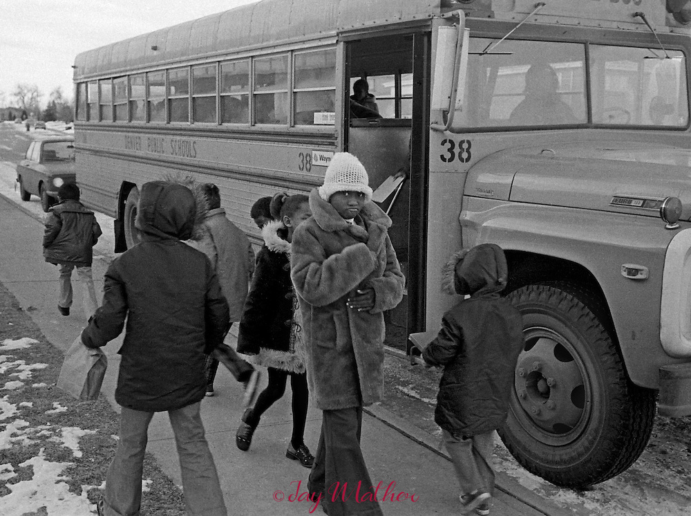Court ordered busing to desegregate the Denver Public Schools begins in 1974. Students arrive at Sabin Elementary School.