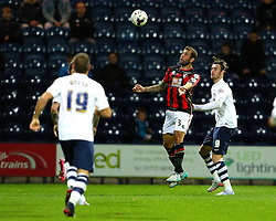 Will Keane of Preston North End challenges Steve Cook of Bournemouth for a header - Mandatory byline: Matt McNulty/JMP - 07966386802 - 22/09/2015 - FOOTBALL - Deepdale Stadium -Preston,England - Preston North End v Bournemouth - Capital One Cup - Third Round