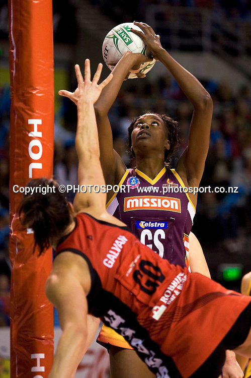 Romelda Aiken for the Firebirds with Anna Galvan in defence for the Tactix. Canterbury Tactix vs Queensland Firebirds in Round 12 of the ANZ Championship at CBS Canterbury Arena, Christchurch, New Zealand. Saturday 30 April 2011. Joseph Johnson/PHOTOSPORT.