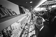 September 21, 1959. Nikita Khrushchev  admiring fabulous selection of US cheese counter. I am standing on the cheese counter to get this picture.<br /> <br /> 21 Septembre 1959. Nikita Khrouchtchev admirant la fabuleuse s&eacute;lection de fromage am&eacute;ricain. J'ai du monter sur le comptoir de fromage ( et en ecraser quelques un au passage) pour obtenir cette image .
