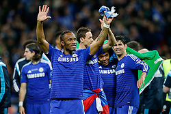 Didier Drogba of Chelsea celebrates after winning the Capital One Cup Final - Photo mandatory by-line: Rogan Thomson/JMP - 07966 386802 - 01/03/2015 - SPORT - FOOTBALL - London, England - Wembley Stadium - Chelsea v Tottenham Hotspur - Capital One Cup Final.