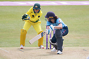Natalie Sciver during the Royal London Women's One Day International match between England Women Cricket and Australia at the Fischer County Ground, Grace Road, Leicester, United Kingdom on 4 July 2019.