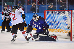 February 22, 2018 - Gangneung, South Korea - USA goalkeeper MADDIE ROONEY makes the final shootout save against MEGHAN AGOSTA of Canada in the Ice Hockey: Women's Gold Medal Game at Gangneung Hockey Centre during the 2018 Pyeongchang Winter Olympic Games.  (Credit Image: © Jon Gaede via ZUMA Wire)