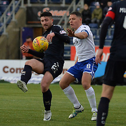 Lewis Kidd (Falkirk) and Queen of the South captain John Rankin during the Scottish Championship clash between Falkirk and Queen of the South at the Falkirk Stadium, where the home side pulled off a shock win.<br /> <br /> (c) Dave Johnston | sportPix.org.uk