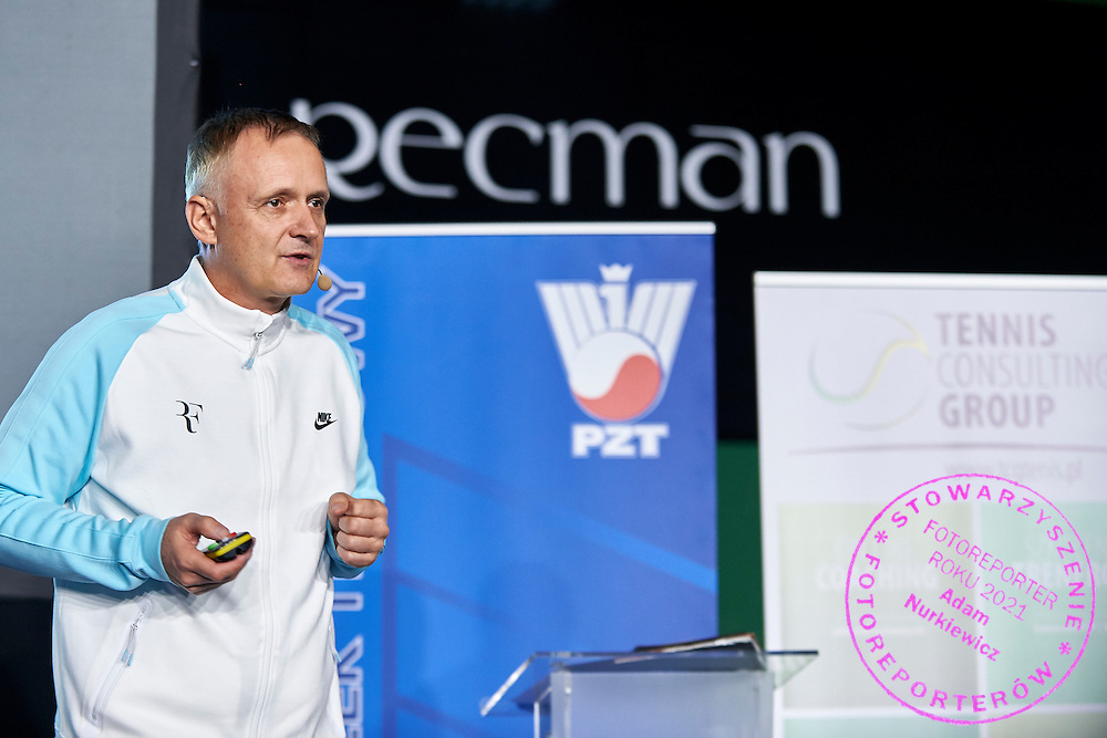 Dr Tomasz Schefke speaks during PZT - Trainer's Conference of Polish Tennis Association at Mera Hall in Warsaw, Poland.<br /> <br /> Poland, Warsaw, November 29, 2015<br /> <br /> Picture also available in RAW (NEF) or TIFF format on special request.<br /> <br /> Any editorial, commercial or promotional use requires permission.<br /> <br /> Adam Nurkiewicz declares that he has no rights to the image of people at the photographs of his authorship.<br /> <br /> Mandatory credit:<br /> Photo by &copy; Adam Nurkiewicz / Mediasport