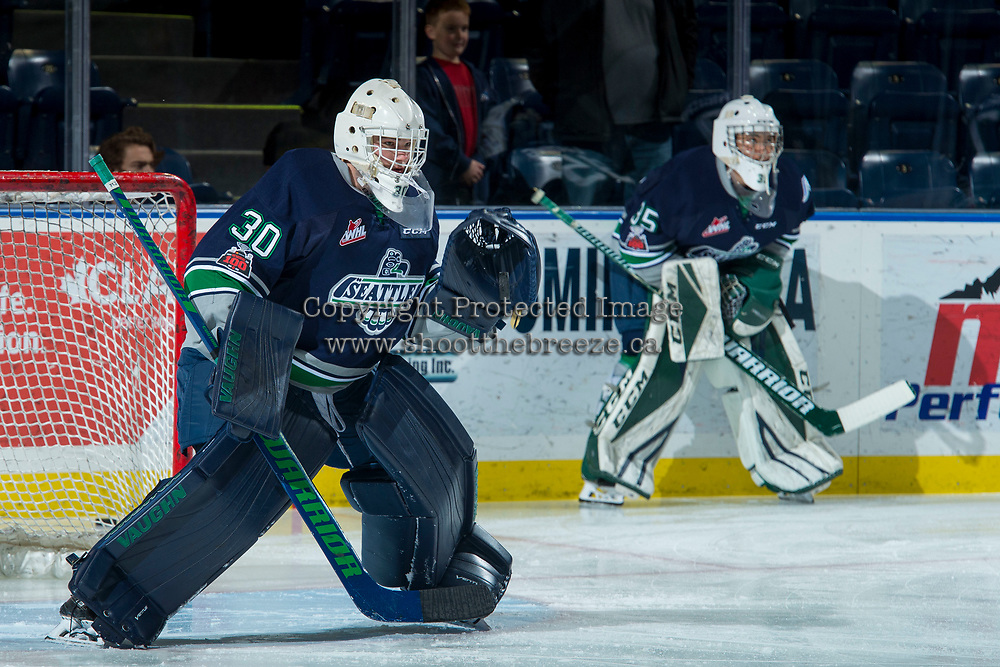 KELOWNA, CANADA - JANUARY 5: Liam Hughes #30 of the Seattle Thunderbirds warms up in net against the Kelowna Rockets on January 5, 2017 at Prospera Place in Kelowna, British Columbia, Canada.  (Photo by Marissa Baecker/Shoot the Breeze)  *** Local Caption ***