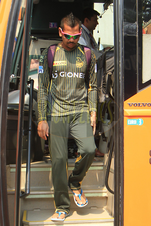 Sunil Narine of Kolkata Knight Riders arrive before match 26 of the Vivo IPL ( Indian Premier League ) 2016 between the Delhi Daredevils and the Kolkata Knight Riders held at The Feroz Shah Kotla Ground in Delhi, India,  on the 30th April 2016<br /> <br /> Photo by Arjun Singh / IPL/ SPORTZPICS