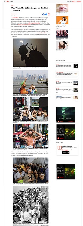"""Time - The Naked Cowboy watching for the solar eclipse as seen in Times Square in New York City, NY on August 21, 2017. This image made it into two articles on Time's website, the first seen here. The other was """"The Eclipse Across America"""" - http://time.com/the-eclipse-crosses-america/"""