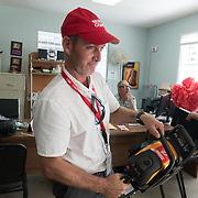 AUGUST 27, 2018--VIEQUES---PUERTO RICO--<br />  Jeronimo Candela, from Mercy Corps, with supplies delivered to VER Community Center.<br /> (Photo by Angel Valentin/Freelance)