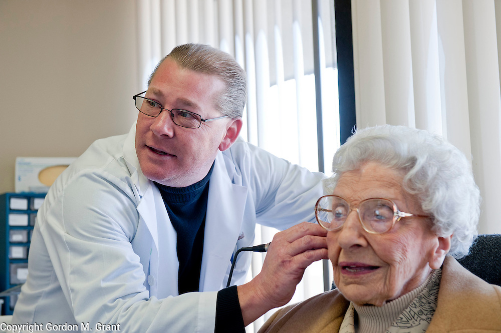 David Carr, a Hearing Instrument Specialist with McGuire's Hearing Aids and Audiology, works with patient Barbara Bodger of East Hampton, at his office in Southampton. Carr will soon be leaving for China, where he will be testing hearing of children unable to afford hearing aids. (March 15, 2011)