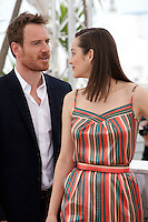 Actor Michael Fassbender and actress Marion Cotillard at the Macbeth film photo call at the 68th Cannes Film Festival Saturday 23rd May 2015, Cannes, France.