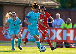 NEWPORT, WALES - Tuesday, June 12, 2018: Wales' Helen Ward and Russia's captain Anna Kozhnikova during the FIFA Women's World Cup 2019 Qualifying Round Group 1 match between Wales and Russia at Newport Stadium. (Pic by David Rawcliffe/Propaganda)