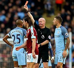 Referee Lee Mason shows a straight red card to Fernandinho of Manchester City after a foul on Johann Gudmundsson of Burnley - Mandatory by-line: Matt McNulty/JMP - 02/01/2017 - FOOTBALL - Etihad Stadium - Manchester, England - Manchester City v Burnley - Premier League