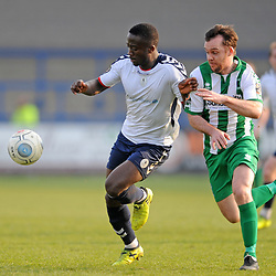 TELFORD COPYRIGHT MIKE SHERIDAN 30/3/2019 - Dan Udoh of AFC Telford and Michael Liddle during the Vanarama National League North fixture between AFC Telford United and Blyth Spartans at the New Bucks Head.
