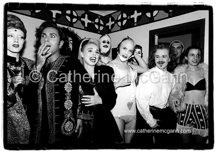 Michael Alig (in chin strap) poses for a photo with the band Army of Lovers and various friends at a party the the apartment Alig shared with Superstar DJ Keoki (born Keoki Franconi) in May 1992 in New York City.<br /> <br /> Copyright Catherine McGann / All Rights Reserved<br /> www.catherinemcgann.com<br /> catherinemcgann@gmail.com