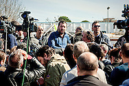 The secretary of the Northern League, Matteo Salvini visited the roma camp  of Via Salviati to Tor Sapienza neighborhood on the outskirts of Rome.  The Roma camp in via Salviati and inhabited by about 450 people from the former Yugoslavia. Rome, Italy. 24th Febraury 2016.