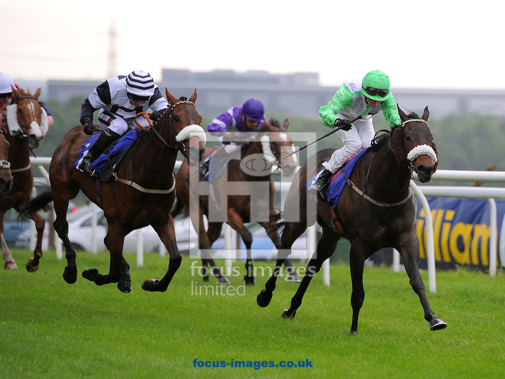 Border Bandit and jockey Ian Brennan (r) win from No Win No Fee (Andrew Mullen) in The Heart Breakfast Handicap Stakes at Pontefract Races, Pontefract<br /> Picture by Alan Wright/Focus Images Ltd 07733 196489<br /> 23/05/2014
