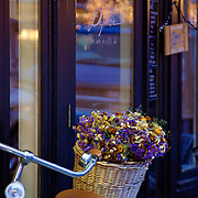 Bicycle with flower basket, Edmonds, Washington