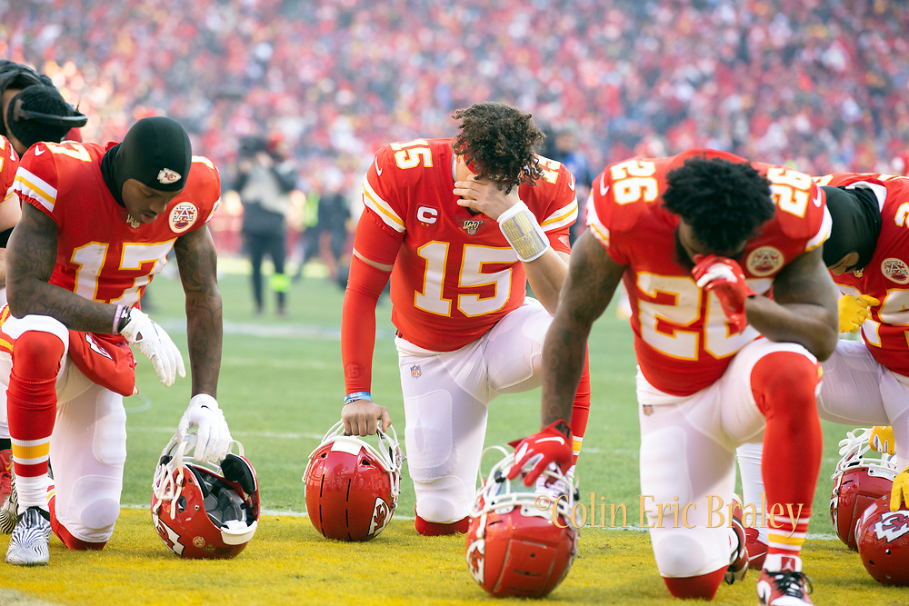 Kansas City Chiefs' Mecole Hardman (17) Patrick Mahomes (15) and Damien Williams (26) before the start of an NFL, AFC Championship football game against the Tennessee Titans, Sunday, Jan. 19, 2020, in Kansas City, MO. The Chiefs won 35-24 to advance to Super Bowl 54. (AP Photo/Colin E. Braley) Colin Eric Braley Photography