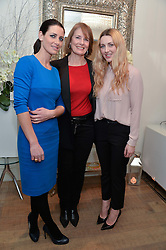 Left to right, KIRSTY GALLACHER, her mother LESLEY GALLACHER and LAURA GALLACHER at a Valentine's charity event to raise heart awareness and support the charity Arrhythmia Alliance held at Sophie Gass, 4 Ladbroke Grove, London on 13th February 2014.