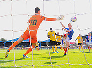Kyle Dempsey of Carlisle United (right, number 22) scores his team's second goal during the Sky Bet League 2 match at Brunton Park, Carlisle<br /> Picture by Greg Kwasnik/Focus Images Ltd +44 7902 021456<br /> 06/09/2014