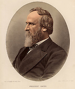Rutherford Birchard Hayes (1822-1893) American Republican statesman, 19th President of the USA (1877-1881).   From 'The Modern Portrait Gallery' (London, c1880). Tinted lithograph.