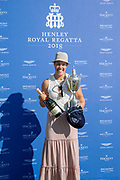 "Henley on Thames, United Kingdom, 8th July 2018, Sunday,  ""Henley Royal Regatta"",  Princess Royal Challenge Cup, winner Jeannine GMELIN SUI W1X, Ruderclub Uster, with Trophy, View, Henley Reach, River Thames, Thames Valley, England, UK."