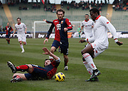 Bari (BA), 13-02-2011 ITALY - Italian Soccer Championship Day 25 - Bari VS Genoa..Pictured: Okaka (BA) Milanetto (GE).Photo by Giovanni Marino/OTNPhotos . Obligatory Credit