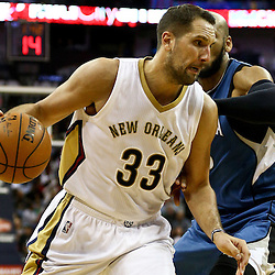 Feb 27, 2016; New Orleans, LA, USA; New Orleans Pelicans forward Ryan Anderson (33) drives past Minnesota Timberwolves forward Adreian Payne (33) during the second half of a game at  the Smoothie King Center. The Timberwolves defeated the Pelicans 112-110.  Mandatory Credit: Derick E. Hingle-USA TODAY Sports