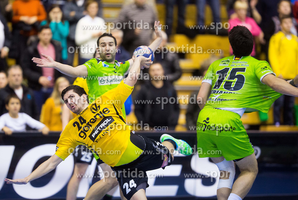 Mario Sostaric of Gorenje during handball match between RK Gorenje Velenje and Naturhouse La Rioja in Round 6 of Group D of EHF Men's Champions League 2013/14, on November 23, 2013 in Rdeca dvorana, Velenje, Slovenia. Photo by Vid Ponikvar / Sportida