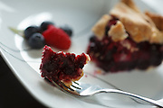 USA, Oregon, Keizer, a piece of raspberry/blueberry pie and a cup of coffee.