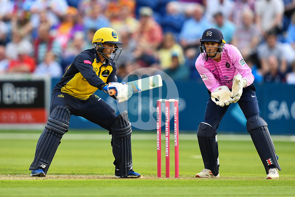 Billy Root of Glamorgan in action<br /> <br /> Photographer Craig Thomas/Replay Images<br /> <br /> Vitality Blast T20 - Round 4 - Glamorgan v Middlesex - Friday 26th July 2019 - Sophia Gardens - Cardiff<br /> <br /> World Copyright © Replay Images . All rights reserved. info@replayimages.co.uk - http://replayimages.co.uk