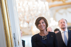 "03.06.2019, Präsidentschaftskanzlei, Wien, AUT, Angelobung der Übergangsregierung, im Bild Bundeskanzlerin Brigitte Bierlein // Austrian Chancellor Brigitte Bierlein during inauguration of the provisional government after ""Ibiza Affair"" at Federal Presidents Office in Vienna, Austria on 2019/06/19, EXPA Pictures © 2019, PhotoCredit: EXPA/ Michael Gruber"