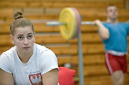 Patrycja Piechowiak from Poland (Budowlani Nowy Tomysl; category 69 kg) during training session two weeks before weightlifting IWF World Championships Wroclaw 2013 at the Olympic Sports Centre in Spala on October 08, 2013.<br /> <br /> Poland, Warsaw, September 16, 2013<br /> <br /> Picture also available in RAW (NEF) or TIFF format on special request.<br /> <br /> For editorial use only. Any commercial or promotional use requires permission.<br /> <br /> Mandatory credit:<br /> Photo by © Adam Nurkiewicz / Mediasport