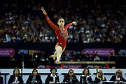 Victoria Nguyen of the United States of America (USA) performing on the Floor on her way to winning the woman's Silver Medal during the iPro Sport World Cup of Gymnastics 2017 at the O2 Arena, London, United Kingdom on 8 April 2017. Photo by Martin Cole.