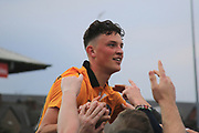 Newport Player Mark Randall celebrate avoiding relegation during the EFL Sky Bet League 2 match between Newport County and Notts County at Rodney Parade, Newport, Wales on 6 May 2017. Photo by Daniel Youngs.