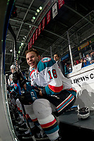 KELOWNA, CANADA - FEBRUARY 14: Kelowna Rockets left wing Carsen Twarynski #18 sits on the bench against the Red Deer Rebels on February 14, 2018 at Prospera Place in Kelowna, British Columbia, Canada.  (Photo by Marissa Baecker/Shoot the Breeze)  *** Local Caption ***