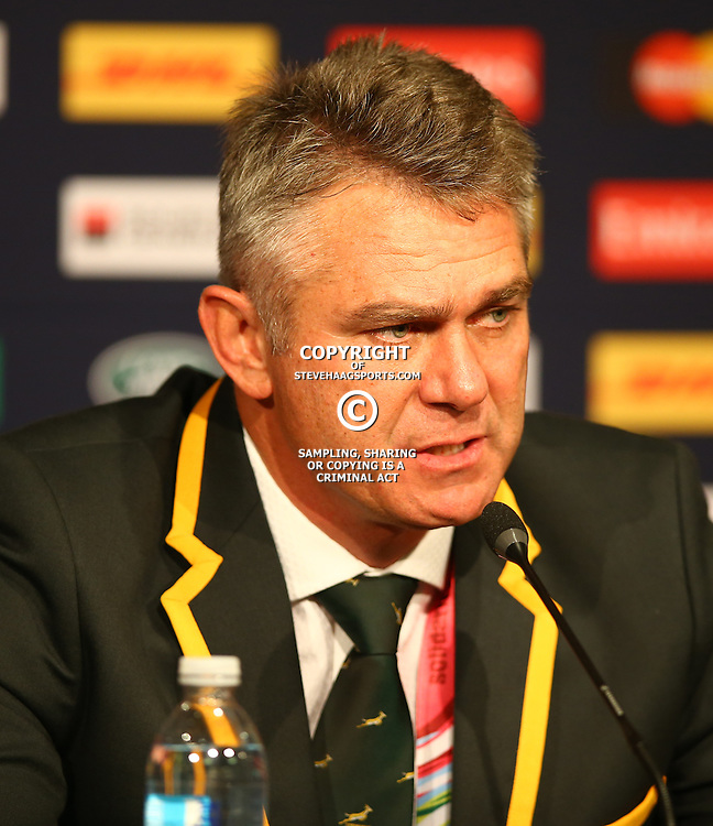 NEWCASTLE UPON TYNE, ENGLAND - OCTOBER 03: Heyneke Meyer (Head Coach) of South Africa during the Rugby World Cup 2015 Pool B match between South Africa and Scotland at St James Park on October 03, 2015 in Newcastle upon Tyne, England. (Photo by Steve Haag/Gallo Images)